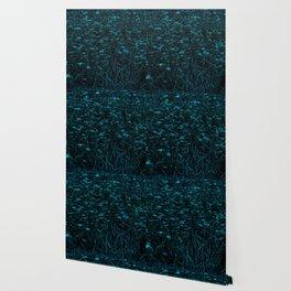 Dark Green Queen Anne's Lace Hillside Wallpaper