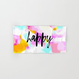 Happy - Bright neon pink abstract typography Hand & Bath Towel