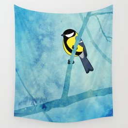 Great tit (Parus major) Wall Tapestry