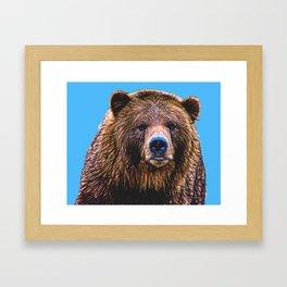 Brown Bear - Blue background Framed Art Print