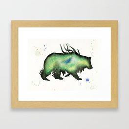 Green Nebula Bear Framed Art Print