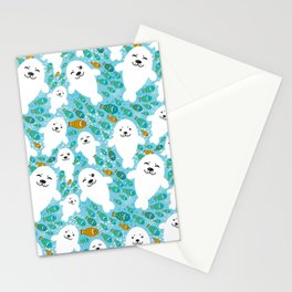 White cute fur seal and fish in water Stationery Cards