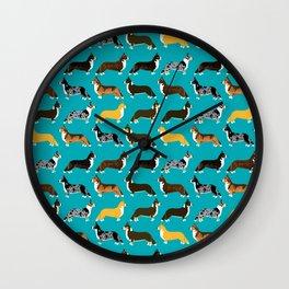 Corgi welsh corgi pattern print cute dog art pattern design pet portrait corgi puppy lovers fur baby Wall Clock