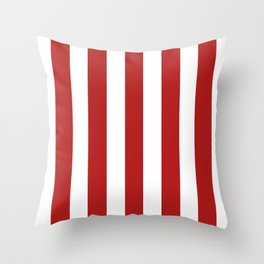 Carnelian red - solid color - white vertical lines pattern Throw Pillow