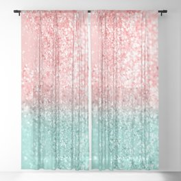 Summer Vibes Glitter #3 #coral #mint #shiny #decor #art #society6 Sheer Curtain
