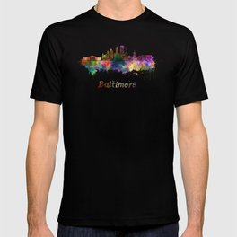 Baltimore skyline in watercolor T-shirt