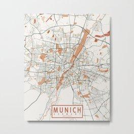 Munich City Map of Germany - Bohemian Metal Print