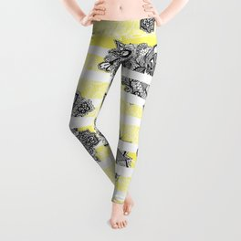 Modern black white henna paisley floral lace bright yellow Leggings