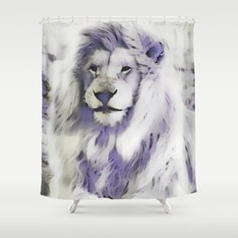Blue Albino Lion Shower Curtain