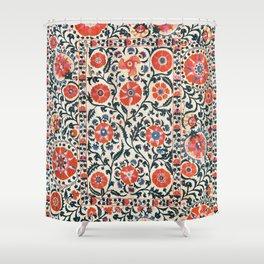 Shakhrisyabz Suzani  Uzbekistan Antique Floral Embroidery Print Shower Curtain