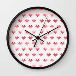 Watercolour Pixel Hearts in Red Wall Clock