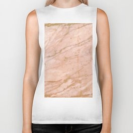 Pink marble with gold veins Biker Tank