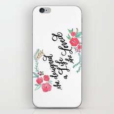 She Designed a Life She Loved - Calligraphy and Watercolor Floral  iPhone & iPod Skin