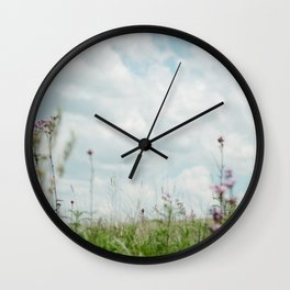 Wildflower Sky - Clouds and Flowers Wall Clock
