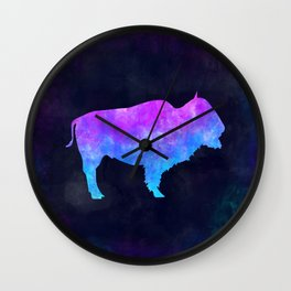 BUFFALO IN SPACE // Animal Graphic Art // Watercolor Canvas Painting // Modern Minimal Cute Wall Clock