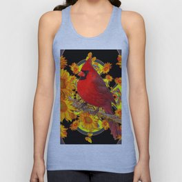 RED CARDINAL SUNFLOWERS BLACK ART Unisex Tank Top