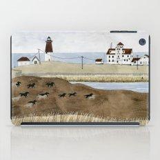 Seashore lighthouse and wild horses iPad Case