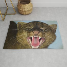 jaguarundi grin aggression muzzle predator big cat Rug