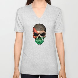 Dark Skull with Flag of Jordan Unisex V-Neck