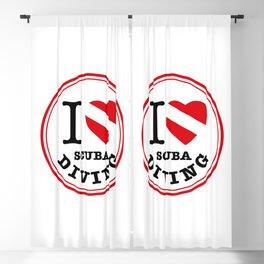 I Love Scuba Diving, Scuba Diving t shirt, round design Blackout Curtain