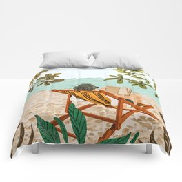 Vacay Book Club #illustration #tropical Comforters