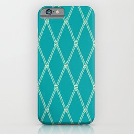 Nautical Fishing Net (Teal and Beige) iPhone Case