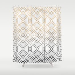Gold And Grey Geo Shower Curtain