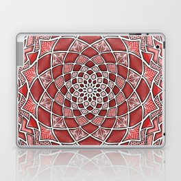 12-Fold Mandala Flower in Red Laptop & iPad Skin