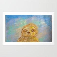 Smiling Sloth in Sun Art Print