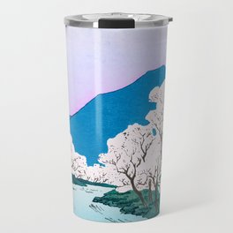 Japanese Cherry Blossom Wood Print 2nd Edition Travel Mug