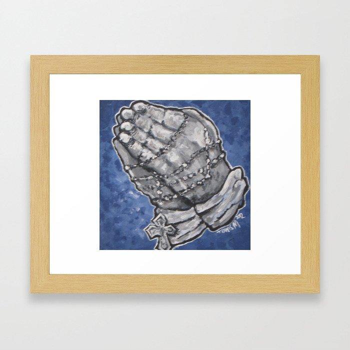 Blue Praying Hands Framed Art Print