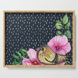 Floral bird on golden raindrop pattern Serving Tray