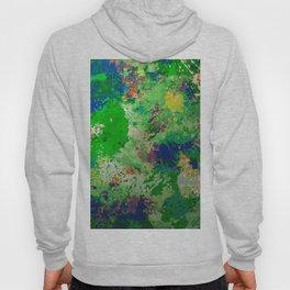 Spring Time Splatter - Abstract blue and green platter painting Hoody