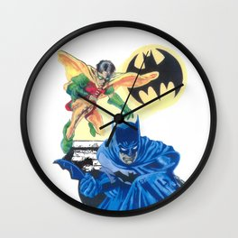 Masked Heroes / Dynamic Duo by Peter Melonas Wall Clock