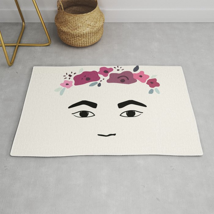 Frida with flowers Rug