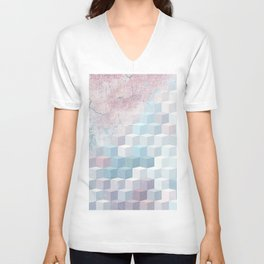 Distressed Cube Pattern - Pink and blue Unisex V-Neck