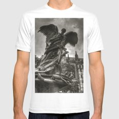 Angel with a sword White SMALL Mens Fitted Tee