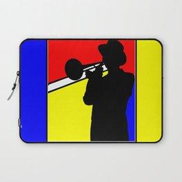 Jazz trombone player silhouette mondrian colors Laptop Sleeve