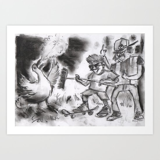 """""""Teens Fighting a Goose"""" (from Farts 'N' Crafts episode 5) Art Print"""