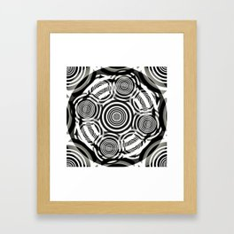 Black and White Party of Circles Framed Art Print