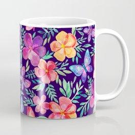 Summer Blooms & Butterflies on Dark Purple Coffee Mug