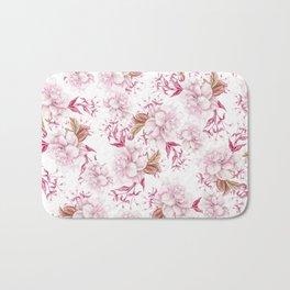 Modern pink blush purple pastel watercolor elegant floral Bath Mat