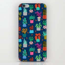 Check It - house plants indoor monstera neon bright modern pattern retro throwback memphis style iPhone Skin