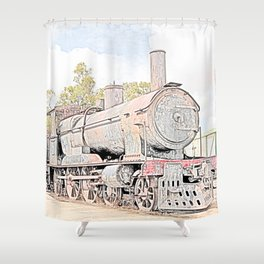 Rusting Steam Train Shower Curtain