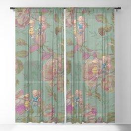 Hooping in The Rose Garden Sheer Curtain