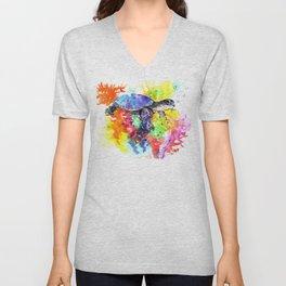 Sea Turtle in Coral Reef design, sea world colorful coral sea world design Unisex V-Neck