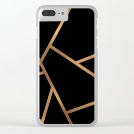 Black and Gold Fragments - Geometric Design Clear iPhone Case