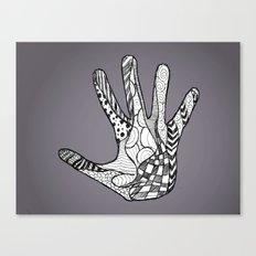 Doodle Hand (Black White) Canvas Print