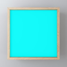 Neon Aqua Blue Bright Electric Fluorescent Color Framed Mini Art Print