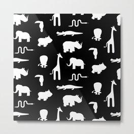 Exotic white animals pattern Metal Print